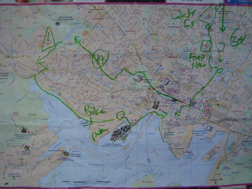 Oslo cycling routes.